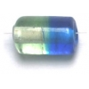 Glass Beads 12x7mm Tube Two Tone Blue/Light Green